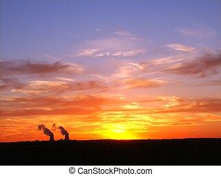 nucleare, sopra, tramonto, pianta