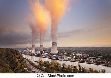 nucleare, stazione, tramonto, potere