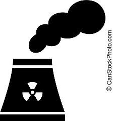 nucleare, stazione, vettore, potere, icona