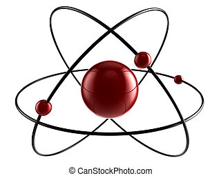 A nucleus with 3 orbital rings and electrons around the core