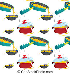 nuddles and various pots - illustration of nuddles and...