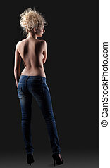Nude blond girl in jeans
