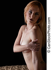 Nude Caucasian Woman - Young beautiful adult caucasian woman...