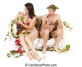 original sin - nude couple original sin concept, conflict...