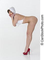 Nude Figure Model - A nude figure model in a studio...