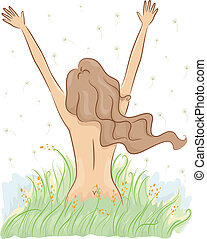 Nude Girl on a Field