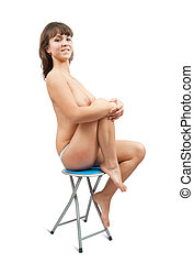 nude girl  sitting on stool.  Isolated on  white background