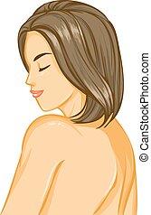 Nude girl with beautiful hair