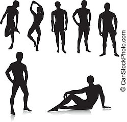 nude, mandlig, silhouettes.vector
