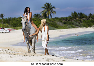 Nude Model on Horseback - A nude model on horseback on a...