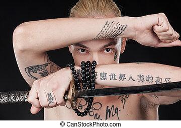 nude, unge, sword., hånd ind hånd, guy, mand, tatover, ...