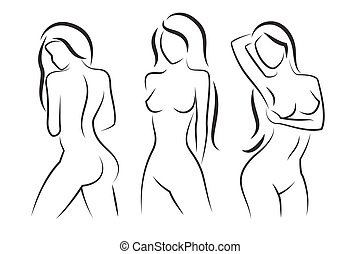 Nude woman vector silhouette. Beautiful girl illustration