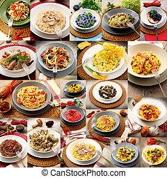 nudelgerichte, collage, original, italienesche