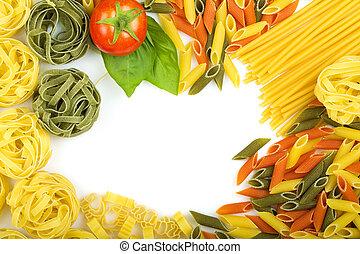 nudelgerichte, oben, hintergrund, italienesche