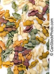 nudelgerichte, schließen, gefärbt, auf