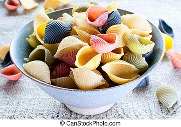 nudelgerichte, schließen, multi gefärbt, auf