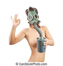 nudez, sobre, máscara gás, branca, menina