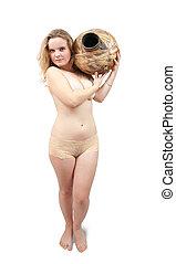 nudity girl with jug - Young nudity girl with jug on white....