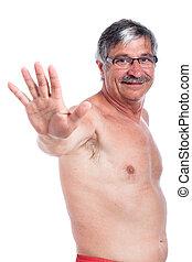 nudo, anziano, felice, gesturing, uomo