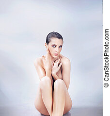 nudo, carino, brunetta, proposta, giovane