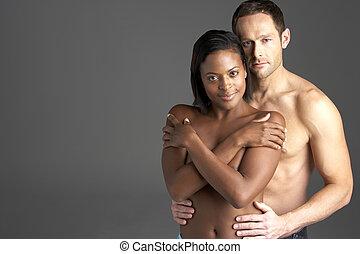 nudo, coppia, giovane, abbracciare