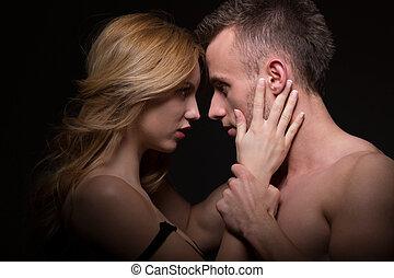 nudo, coppia, giovane