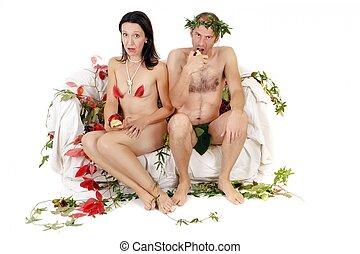 nudo, coppia, sorpreso