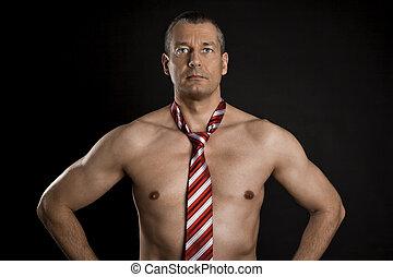 nudo, cravatta, uomo