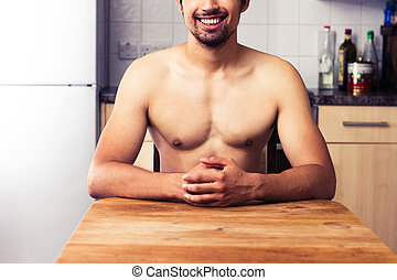 nudo, equipaggi seduta, in, suo, cucina