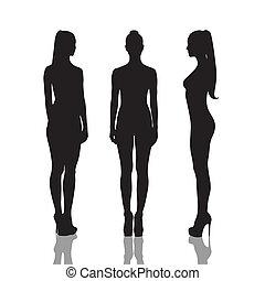 nudo, lunghezza, pieno, ragazze, silhouette