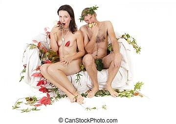 nudo, mangiare, coppia, mela