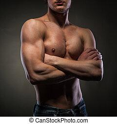 nudo, nero, muscolare, uomo