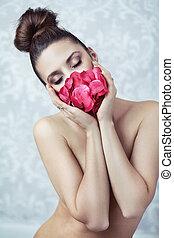 nudo, petalo, maschera, signora