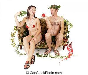 nudo, seduzione, coppia