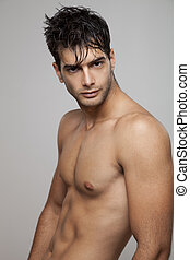 nudo, sexy, muscolare, uomo