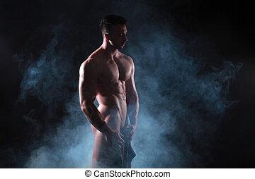 nudo, studio, muscolare, uomo