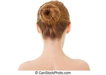 nudo, testa, donna, spalle., back-