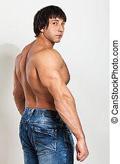 nudo, torso, giovane, muscolare, uomo