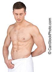 nudo, uomo, bianco, sexy, fondo, isolato, adattare, stare...