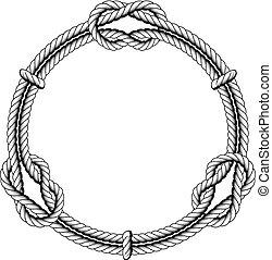 nudos, marco, -, torcido, soga, círculo, redondo
