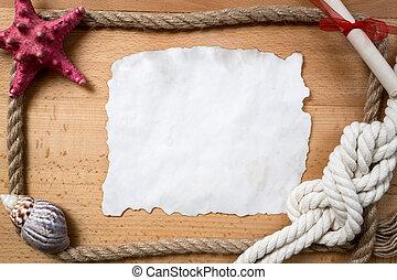 nudos, sogas, papel, conchas marinas, pedazo, frontera, ...