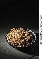 nueces, tazón, concha, pino