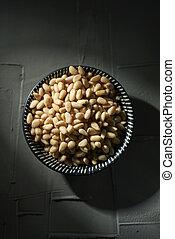 nueces, tazón, pino, concha