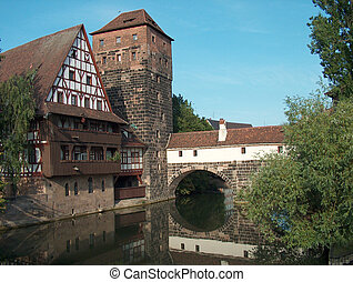 Nuernberg/Germany - Digital photo of the historic part of ...