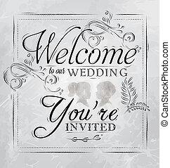 nuestro, cartel, boda, bienvenida, carbón