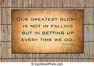 nuestro, confucius, más grande, glory:, cita