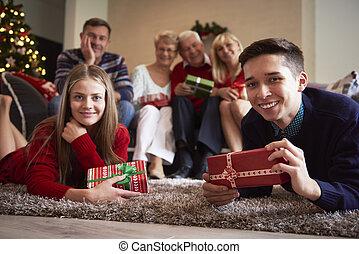 nuestro, navidad, tiempo familia