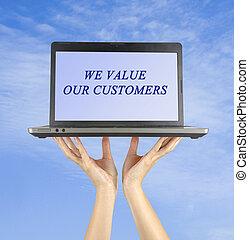 nuestro, nosotros, clientes, valor