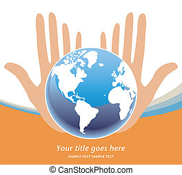 nuestro, tierras, futuro, vector., manos