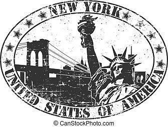 nueva york, estampilla